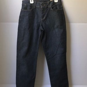 Dark washed jeans w/ curvy fit and slim ankles